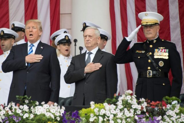 There is speculation that Pentagon chief Jim Mattis -- pictured here with Donald Trump in May 2018 -- might quit if the president sidelines him