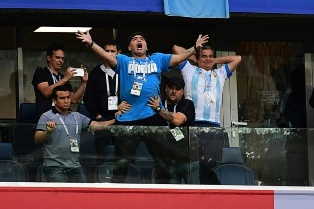 Argentina legend Diego Maradona says he is feeling fine after suffering a drop in blood pressure during his country's win over Nigeria