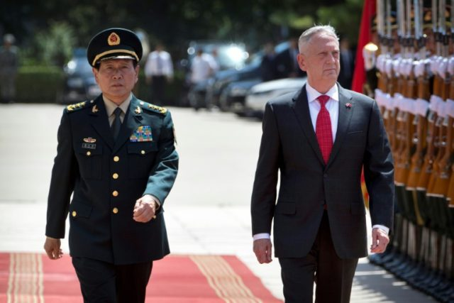 US Defense Secretary James Mattis (R) told his Chinse counterpart Wei Fenghe (L) that military relations were crucial to the broader relationship between the two countries