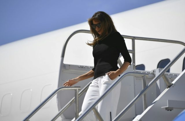 US First Lady Melania Trump arrives at Davis Monthan Air Force Base in Tucson, Arizona, to visit migrant facilities in the area