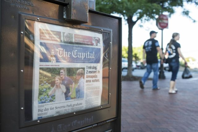A newspaper stand selling the The Capital in Annapolis, Maryland