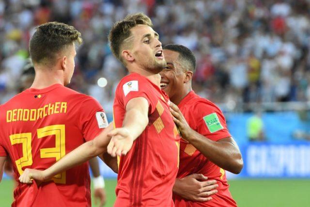 Belgium forward Adnan Januzaj (centre) celebrates a goal against England in their World Cup G decider