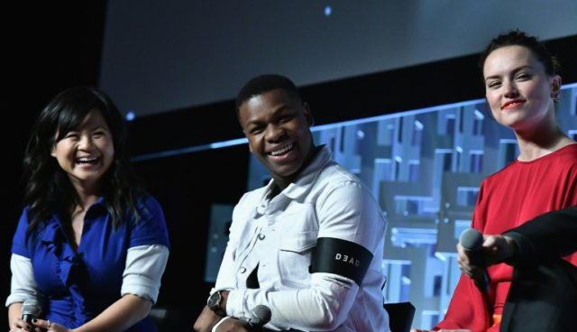 """""""The Last Jedi"""" stars Kelly Marie Tran, John Boyega and Daisy Ridley -- shown at the Star Wars Celebration in April 2017 in Orlando, Florida -- have been the targets of abuse by male, white fans of the blockbuster space saga"""