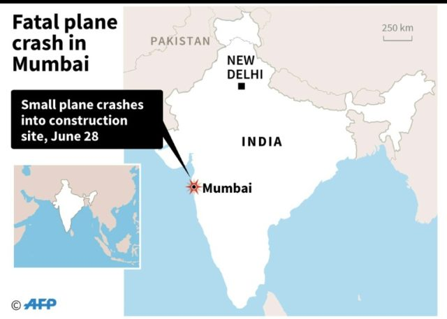 The site of Thursday's fatal plane crash in Mumbai
