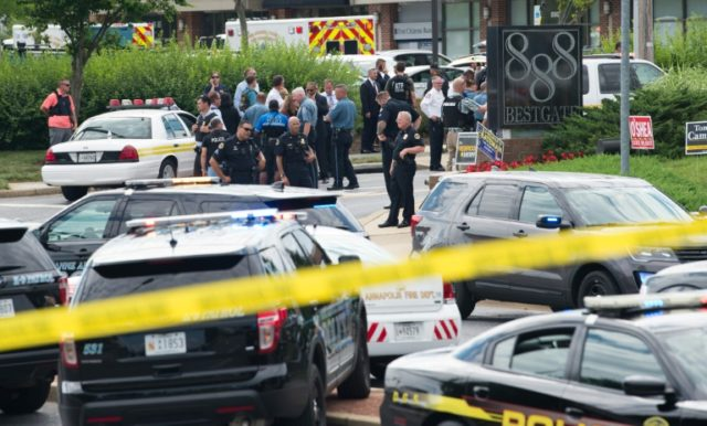 Police responded to a shooting at the offices of the Capital Gazette, a daily newspaper, in Annapolis, Maryland, on June 28, 2018