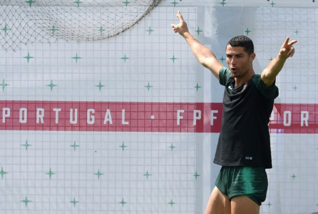 Cristiano Ronaldo at Portugal's training session on Friday before they headed to Sochi for their World Cup tie against Uruguay