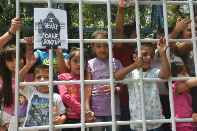 Children take part in a protest against US immigration policy outside the American embassy in Mexico City