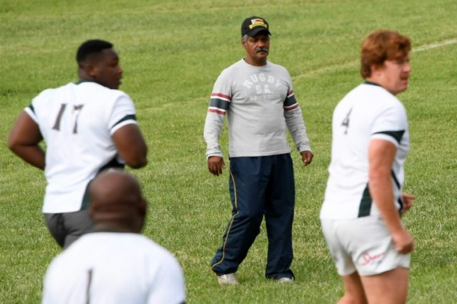 Zimbabwe's new national rugby coach and former Springboks coach Peter de Villiers takes part in a training session on June 29, 2018 in Nairobi, ahead of a rugby match against Kenya during the 2018 Rugby African Gold Cup, which acts as qualifier for the 2019 Rugby World Cup in Japan.