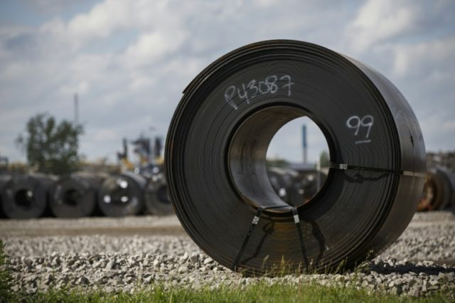 Steel coils lay in a yard at ArcelorMittal Dofasco steel plant in Hamilton, Canada on June 4. The Canadian steel and aluminum industries together employ about 33,500 workers.