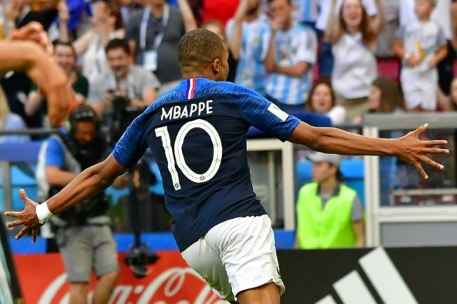 France forward Kylian Mbappe celebrates his second goal against Argentina