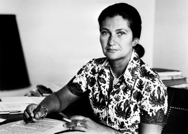 Simone Veil in 1974, the year she pushed through a law legalising abortion in France despite fierce opposition by many lawmakers