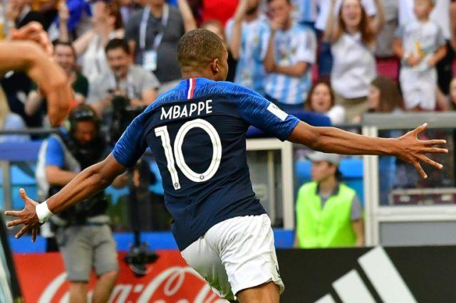 France forward Kylian Mbappe celebrates his second goal against Argentina