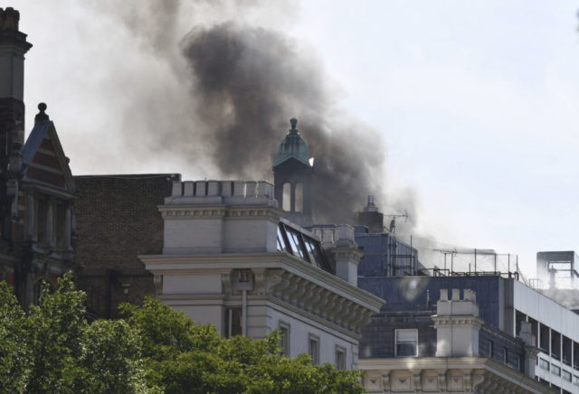 The Latest: No injuries from London hotel fire yet reported