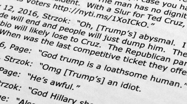 FBI report says anti-Trump texts 'cast a cloud' over probe