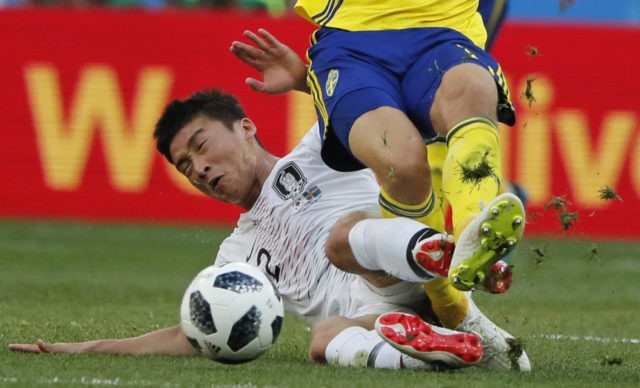 The Latest: Reviewed penalty lifts Sweden over South Korea