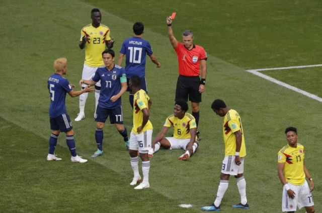 Colombia midfielder gets second-fastest World Cup red card