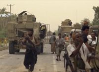 This Saturday, June 16, 2018 file still image taken from video provided by Arab 24 shows Saudi-led forces gathering to retake the international airport of Yemen's rebel-held port city of Hodeida from the Shiite Houthi rebels. With battles raging at the southern side of al-Hodeida International Airport, the military of …