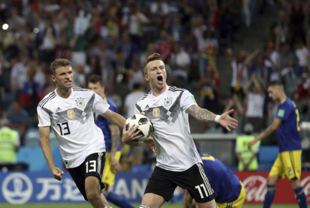 The Latest: Reus scores equalizer for Germany against Sweden