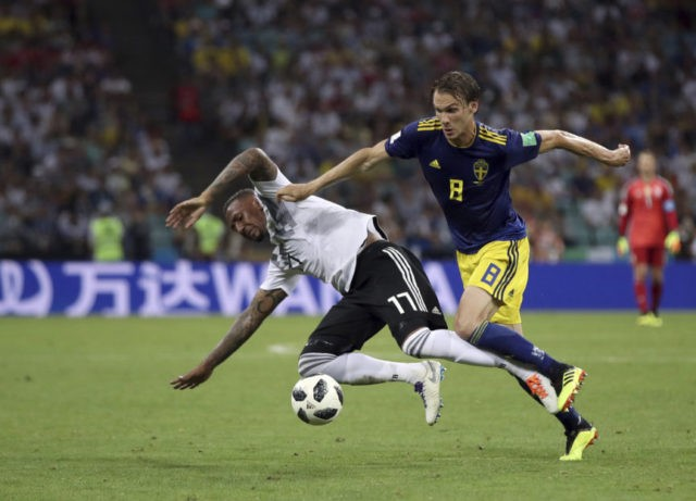 The Latest: Boetang sent off, Germany down to 10 vs Sweden