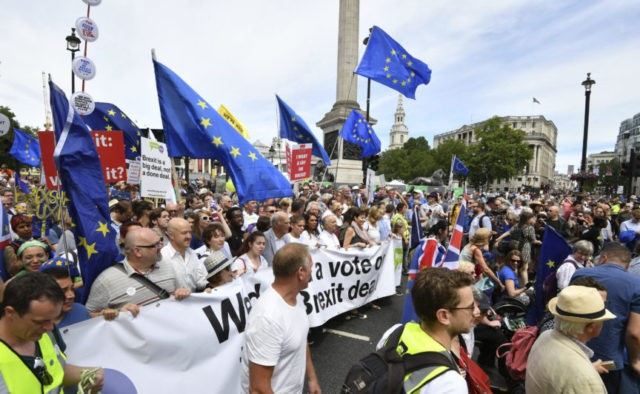 Pro-EU protesters march in London, demand new vote on Brexit