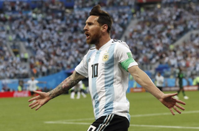 The Latest: Messi gives Argentina 1-0 halftime lead