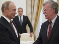 Russian President Vladimir Putin, left, shakes hands with U.S. National security adviser John Bolton during their meeting in the Kremlin in Moscow, Russia, Wednesday, June 27, 2018. U.S. President Donald Trump's national security adviser is due in Moscow Wednesday to lay the groundwork for a possible U.S.-Russia summit. (AP Photo/Alexander …