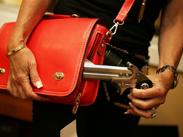 BOCA RATON, FL - OCTOBER 21: Susan Kushlin poses with a concealed-carry handbag that her company, Gun Girls, Inc., created for women that enjoy guns on October 21, 2013 in Boca Raton, Florida. Her line includes bullet jewelry, handbags, belts and custom logo apparel with some of the items priced …
