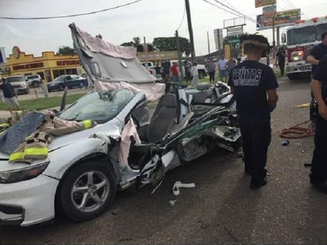 Crash following high speed chase of human smuggler. (Photo: U.S. Border Patrol/Rio Grande Valley Sector)