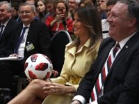 U.S. First Lady Melania Trump holds a soccer ball during a press conference after the meeting of U.S. President Donald Trump and Russian President Vladimir Putin at the Presidential Palace in Helsinki, Finland, Monday, July 16, 2018. AP Photo/Pablo Martinez Monsivais)