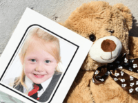 ROTHESAY, ISLE OF BUTE, SCOTLAND - JULY 04: A school picture of Alesha MacPhail is left at a house on Ardbeg road on July 4, 2018 in Rothesay, Isle of Bute, Scotland.The case has become a murder inquiry yesterday evening following the post-mortem examination on the six year old, police …