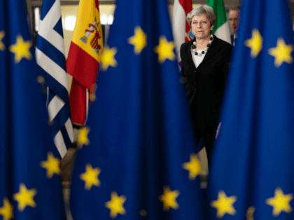 British Prime Minster Theresa May arrives at the Council of the European Union on the final day of the European Council leaders' summit on March 23, 2018 in Brussels, Belgium.