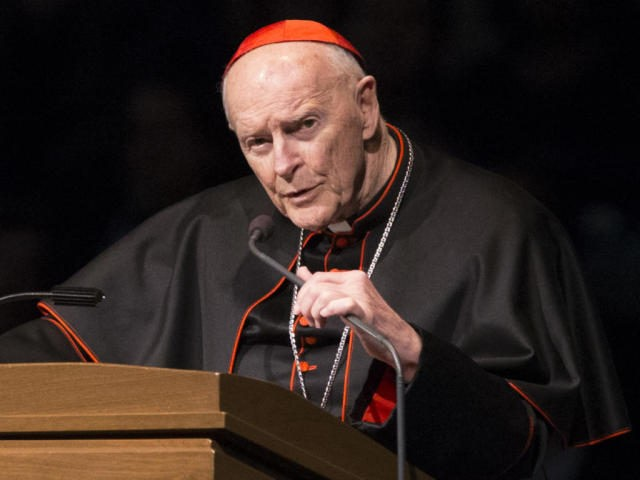 In this Wednesday, March 4, 2015, file photo, Cardinal Theodore Edgar McCarrick speaks during a memorial service in South Bend, Ind. Pope Francis has accepted U.S. prelate Theodore McCarrick's offer to resign from the College of Cardinals following allegations of sexual abuse, including one involving an 11-year-old boy, and ordered …