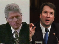 President Bill Clinton during his 1999 deposition, and a young Brett Kavanaugh testifying a few years after he worked on Independent Counsel Ken Starr's investigation.