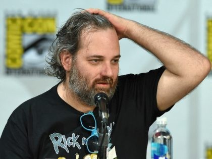 Writer/producer Dan Harmon fixes his hair as he looks at a monitor showing the 'Community' panel during Comic-Con International 2014 at the San Diego Convention Center on July 24, 2014 in San Diego, California. (Photo by Ethan Miller/Getty Images)