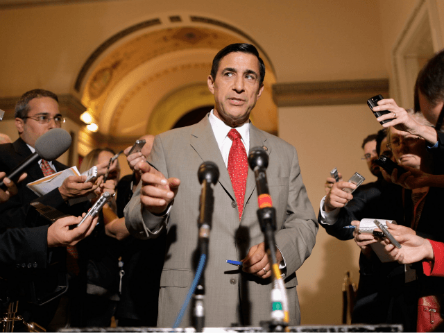 House Oversight and Government Reform Committee Chairman Darrell Issa (R-CA) (L) talks to reporters after meeting with Attorney General Eric Holder in the U.S. Capitol June 19, 2012 in Washington, DC. Issa and Holder did not appear to find any more common ground about the release of documents related to …