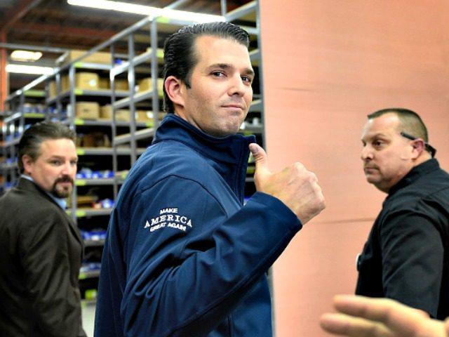 LAS VEGAS, NV - NOVEMBER 03: Donald Trump Jr. gives a thumbs-up after a get-out-the-vote rally for his father, Republican presidential nominee Donald Trump, at Ahern Manufacturing on November 3, 2016 in Las Vegas, Nevada. Trump Jr. urged people to vote for his father during early voting, which ends on …