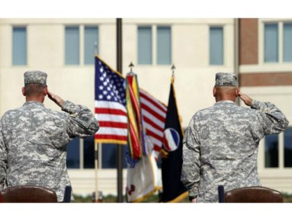 Generals salute during an installation ceremony in 2011 at the U.S Army Forces Command at Fort Bragg, N.C., one the Army's three major command headquarters. The Army, scouting large cities in 2018 to find a home for a fourth command headquarters, announced the final pick on Friday, July 13.