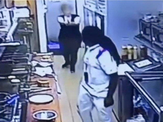 WATCH: Armed Co-Worker Stops Vicious Attack on Female Restaurant Worker