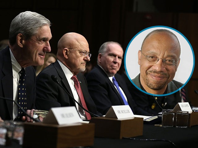 SUPERIMPOSED - Headshot of Washington Post columnist Eugene Robinson. WASHINGTON, DC - MARCH 12: (L-R) National Counterterrorism Center Director Matthew Olsen, FBI Director Robert Mueller, Director of National Intelligence James Clapper, and CIA Director John Brennan, Defense Intelligence Agency Director Lt. Gen. Michael Flynn, and Assistant Secretary of State for …