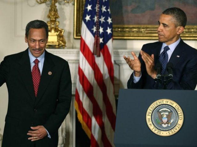 WASHINGTON, DC - MAY 01: (AFP OUT) U.S. President Barack Obama congratulates U.S. Rep. Mel Watt (D-NC) (L) after nominating him to be the next director of the Federal Housing Finance Agency during a personnel announcement at the White House May 1, 2013 in Washington, DC. Watt would be the …