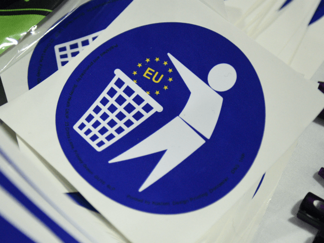 Anti-EU stickers are displayed for sale to delegates attending the UKIP Spring Conference in Llandudno, north Wales, on February 27, 2016. / AFP / OLI SCARFF (Photo credit should read OLI SCARFF/AFP/Getty Images)