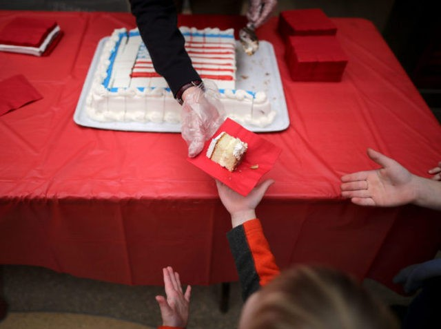 MOUNT VERNON, VA - FEBRUARY 22: Red, white and blue cake is served as part of the birthday celebration for President George Washington at his Mount Vernon Estate February 22, 2017 in Mount Vernon, Virginia. Wednesday marks the 285th anniversary of the birth of George Washington, Revolutionary War general and …