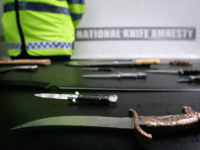 LONDON - MAY 24: A selection of knives are displayed during the launch of national knife amnesty on May 24, 2006 in London, England. The first national knife amnesty for over 10 years begins tomorrow as people are encouraged to hand over their knives to their local police. Until 30 …