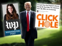 The Washington Post along with their source, satirical website ClickHole, held up by President Trump
