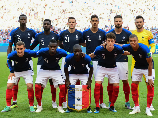(BACK L to R) France's midfielder Paul Pogba, France's defender Samuel Umtiti, France's defender Lucas Hernandez, France's defender Raphael Varane, France's forward Olivier Giroud, France's goalkeeper Hugo Lloris, (FRONT L to R) France's forward Antoine Griezmann, France's midfielder Blaise Matuidi, France's midfielder N'Golo Kante, France's defender Benjamin Pavard and France's …