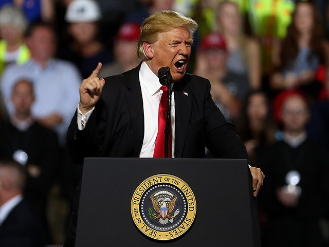 GREAT FALLS, MT - JULY 05: U.S. president Donald Trump speaks during a campaign rally at Four Seasons Arena on July 5, 2018 in Great Falls, Montana. President Trump held a campaign style 'Make America Great Again' rally in Great Falls, Montana with thousands in attendance. (Photo by Justin Sullivan/Getty …