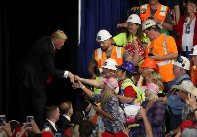 GREAT FALLS, MT - JULY 05: U.S. president Donald Trump greets supporters during a campaign rally at Four Seasons Arena on July 5, 2018 in Great Falls, Montana. President Trump held a campaign style 'Make America Great Again' rally in Great Falls, Montana with thousands in attendance. (Photo by Justin …