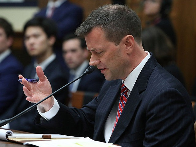 WASHINGTON, DC - JULY 12: Deputy Assistant FBI Director Peter Strzok speaks during a joint committee hearing of the House Judiciary and Oversight and Government Reform committees in the Rayburn House Office Building on Capitol Hill July 12, 2018 in Washington, DC. While involved in the probe into Hillary ClintonÕs …