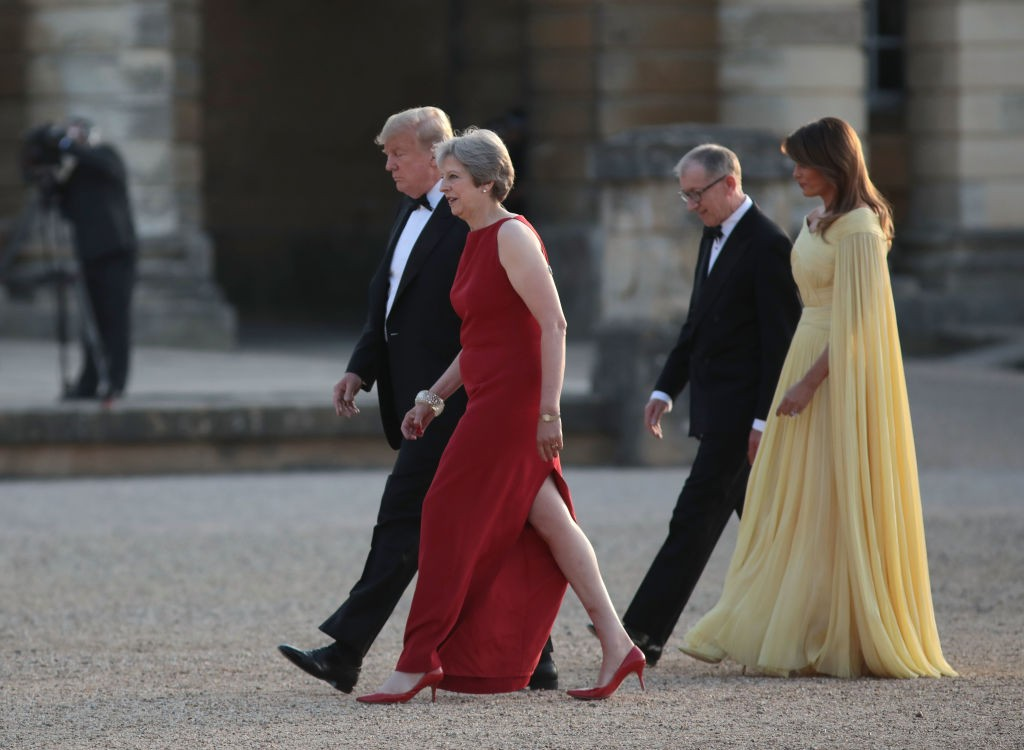 Image result for PHOTOS OF THERESA MAY DONALD TRUMP AT BLENHEIM PALACE