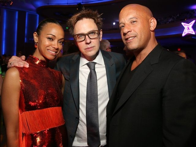 "Actor Zoe Saldana, Writer/director James Gunn and actor Vin Diesel at The World Premiere of Marvel Studios' ""Guardians of the Galaxy Vol. 2."" at Dolby Theatre in Hollywood, CA April 19th, 2017 (Photo by Jesse Grant/Getty Images for Disney)"